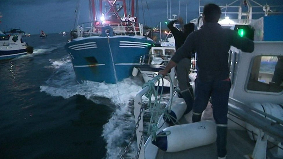 A video screengrab shows fishing boats colliding in the Channel