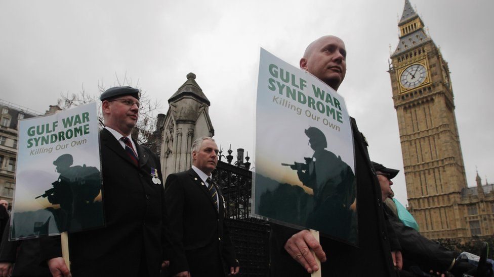 Gulf War veterans march past the Houses of Parliament during a protest to mark the 20th anniversary of the end of the Gulf War on February 28, 2011 in London, England. The protest aimed to highlight former military personnel still suffering with Gulf War Syndrome and demand proper testing, treatment and compensation.