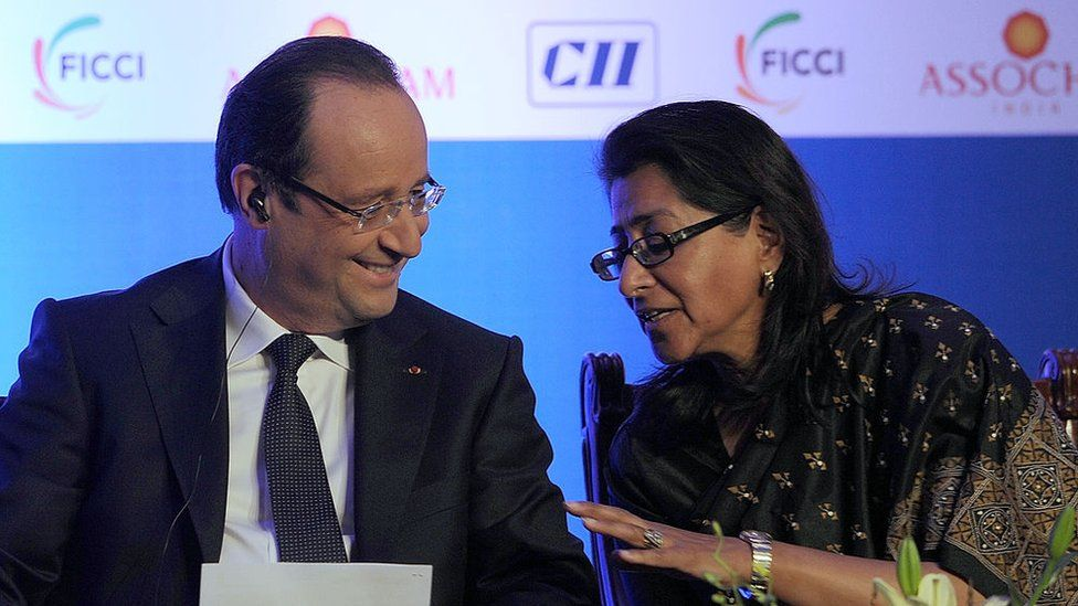Naina Lal Kidwai (right) with French President Francois Hollande