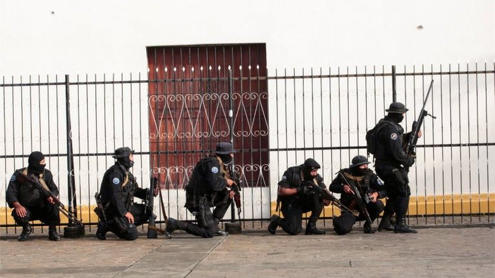 Members of Nicaragua's Special Forces are seen next to a church during clashes with anti-government protesters in the indigenous community of Monimbo in Masaya, Nicaragua July 13, 2018