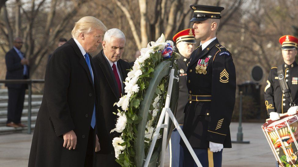 President-elect Donald Trump and US Vice President-elect Mike Pence in a wreath laying ceremony at Arlington National Cemetery