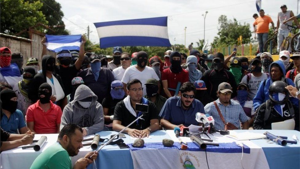 """Members of the """"19 de Abril"""" (April 19) movement give a news conference in Masaya, Nicaragua, June 18, 2018."""