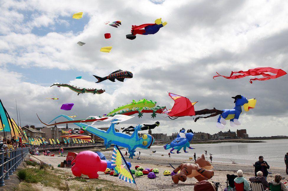 Kite flying on a beach