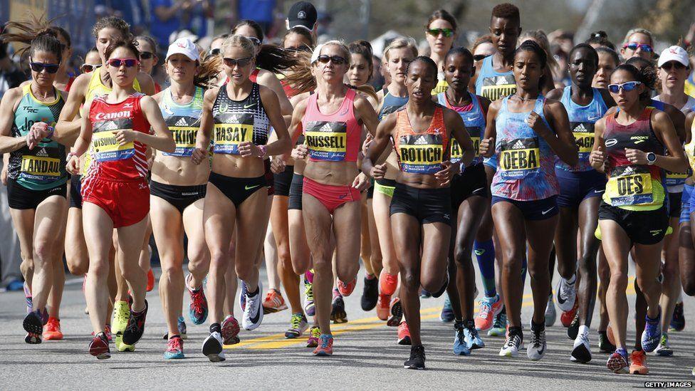 Runners in the 2017 Boston Marathon