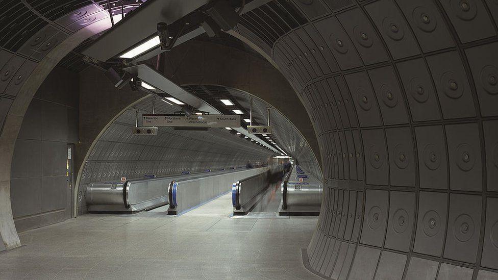 Tube station's two travelators.