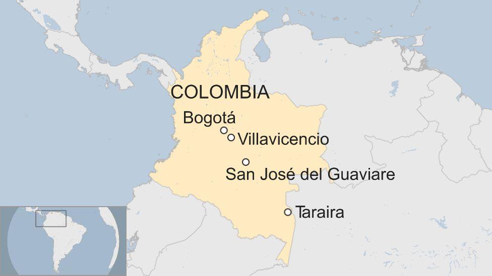 A map of Colombia, showing Bogotá, Villavicencio, San José del Guaviare and Taraira