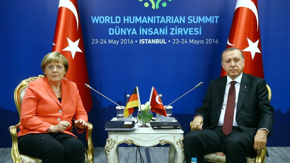 A handout picture provided by Turkish President Press office shows Turkish President Recep Tayyip Erdogan (R) and German Chancellor Angela Merkel (L) sit for a bilateral at World Humanitarian Summit, in Istanbul, Turkey, 23 May 2016.