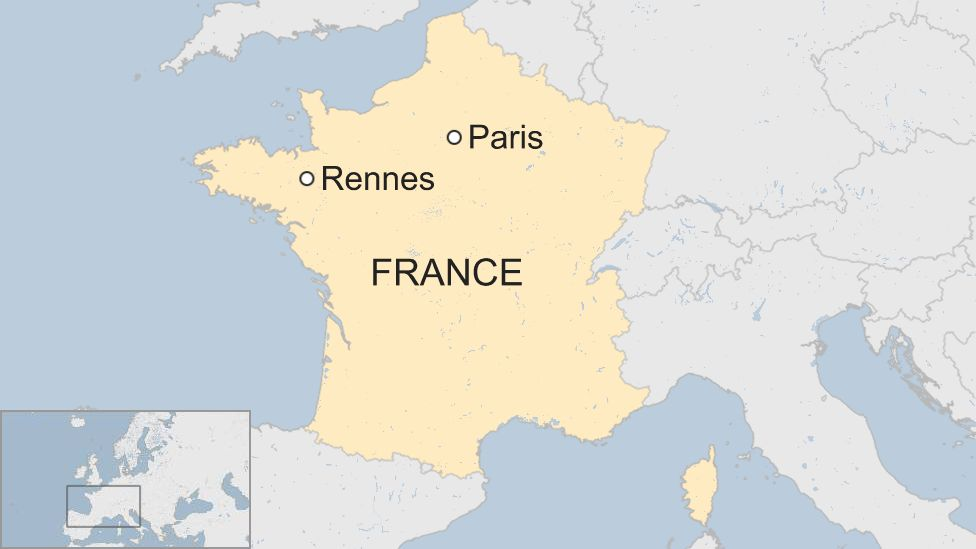 A map showing the location of the Breton city of Rennes in the north-west of France, in relation to Paris