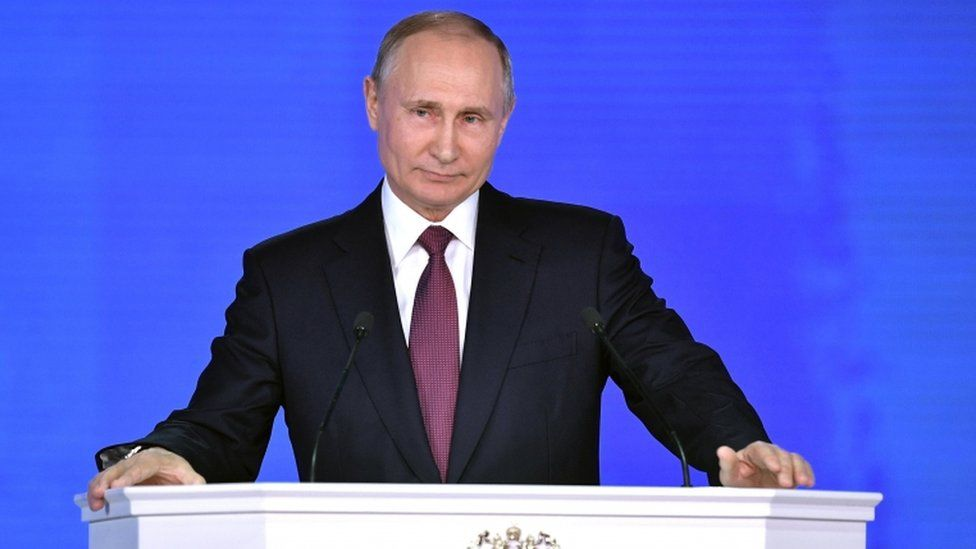 Vladimir Putin speaks during the 2018 State of the Nation address