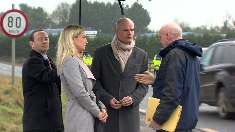 Helen McEntee and Stefan Blok on a visit to the Irish border