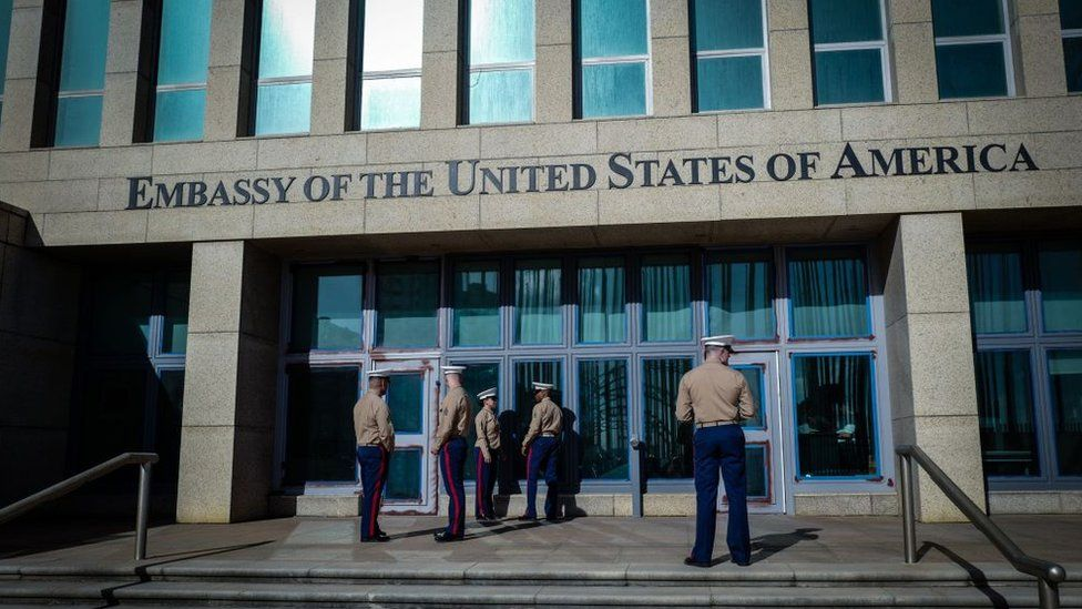 Marines guard the entrance to the US embassy in Havana, Cuba