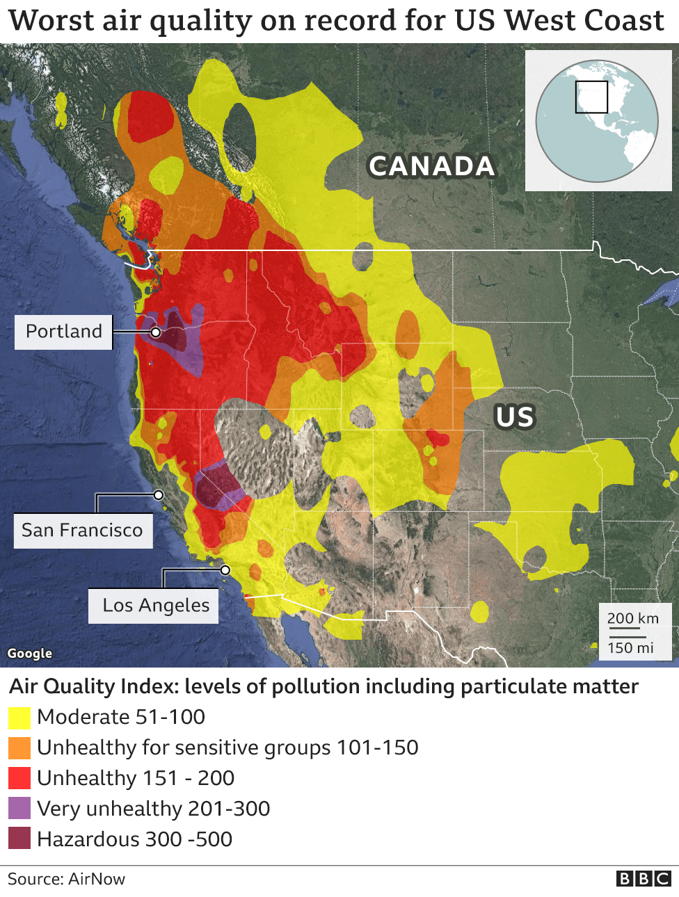 Map Western Us And Canada California and Oregon 2020 wildfires in maps, graphics and images