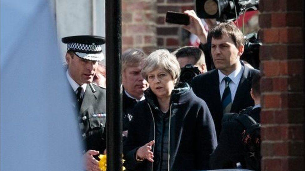 Theresa May visits scene of Salisbury spy poisoning