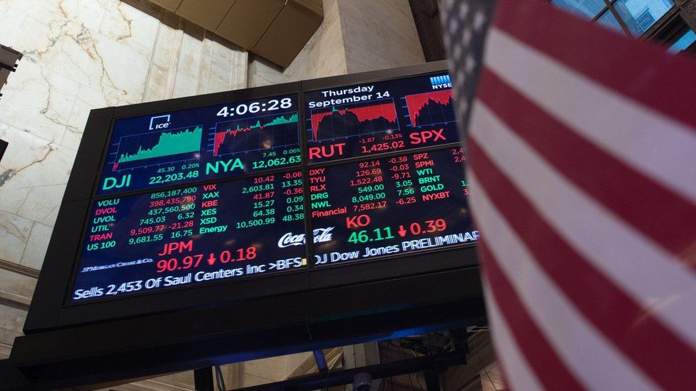 screen showing stocks