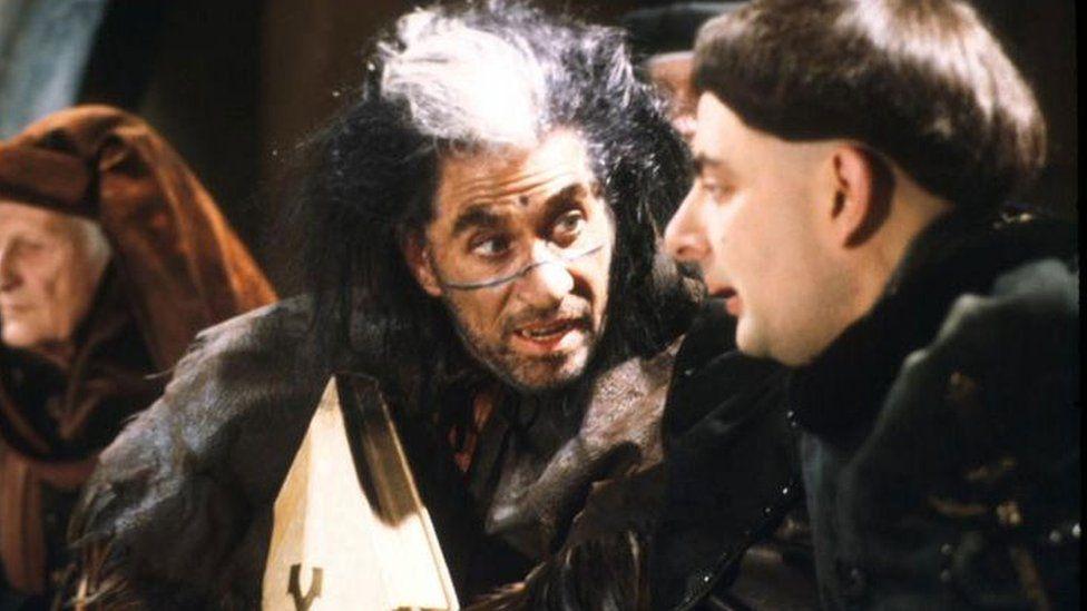 Frank Finlay and Rowan Atkinson in Black Adder