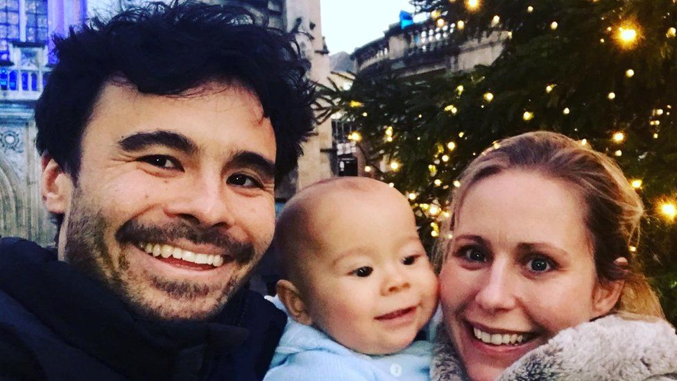Olivia Hall with partner Michael Ahyow and their son Harrison