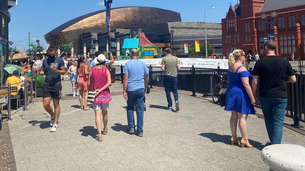 crowds in Cardiff Bay