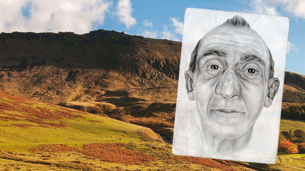 Dove Stone in Peak District - and artist impression of mystery man whose body was found there in December 2015