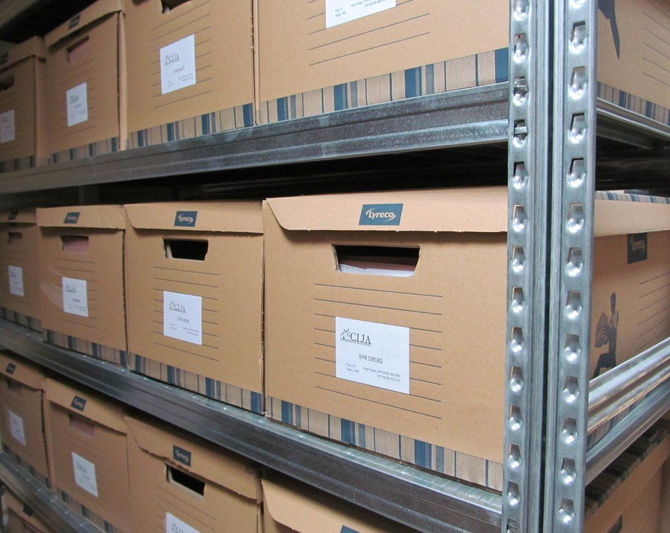 Salvaged Syrian files being stored at the Commission for International Justice and Accountability (CIJA)
