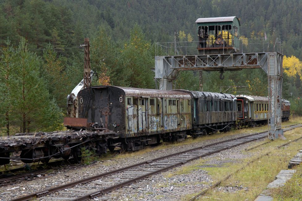 Three disused train carriages near Canfranc