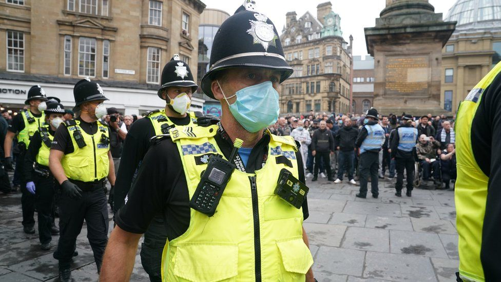 Police at a Black Lives Matter protest at Grey's Monument, Newcastle