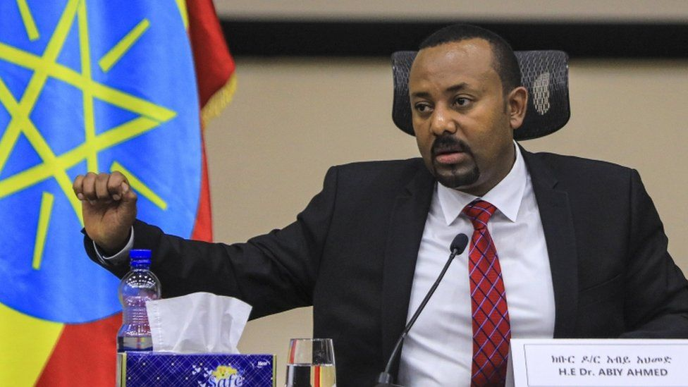 Ethiopian Prime Minister Abiy Ahmed speaks during a question and answer session in parliament, Addis Ababa, Ethiopia 30 November 2020