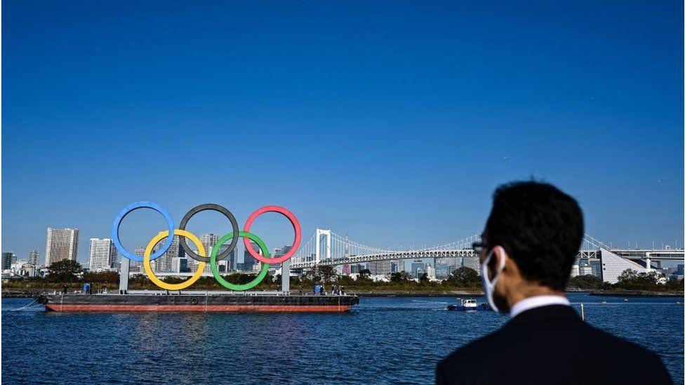 Man looking at Olympic rings
