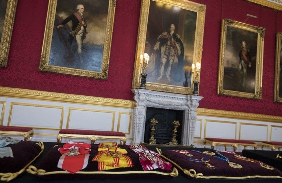 Cushions with the Duke of Edinburgh's insignia sewn into place