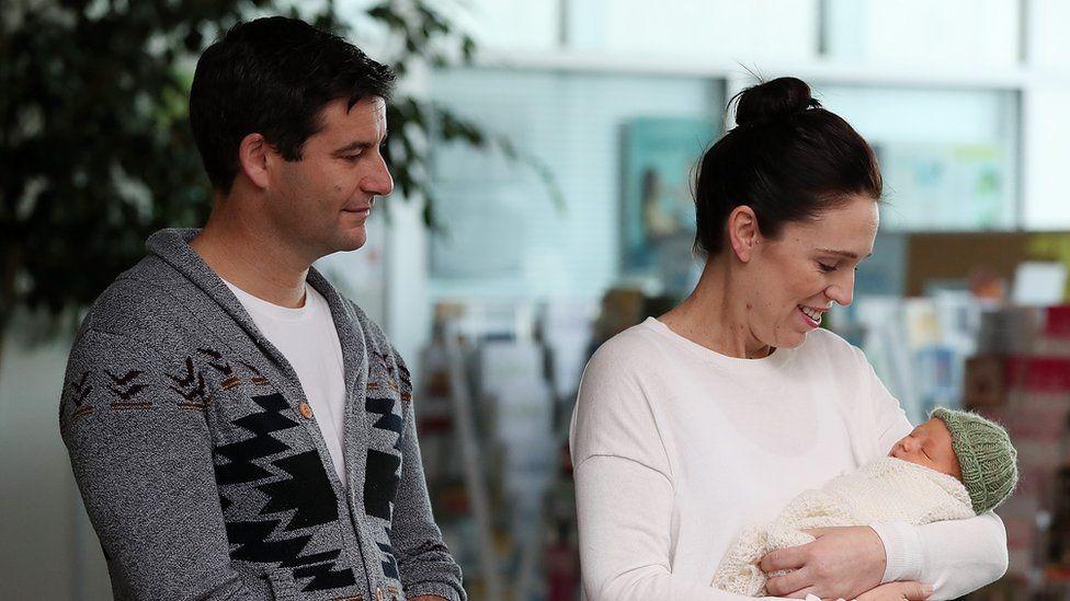 Jacinda Ardern and partner Clarke Gayford with their daughter Neve Te Aroha Ardern Gayford