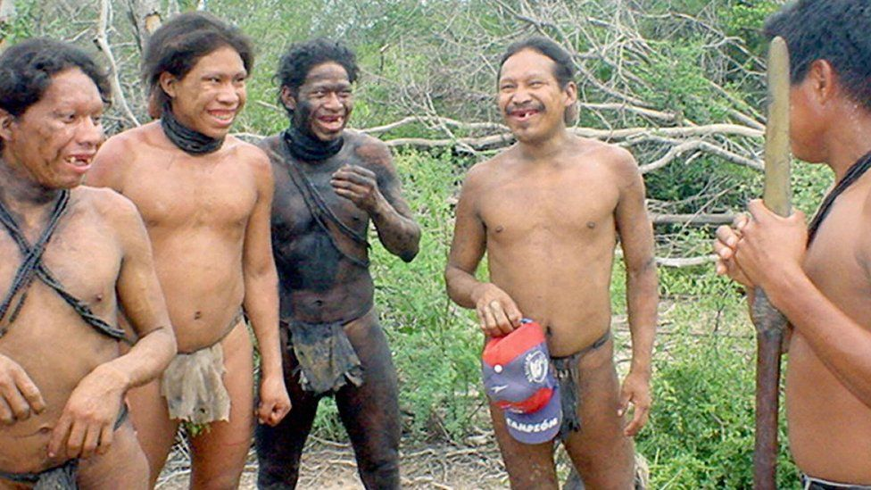Ayoreo Totobiegosode tribe embers in traditional wear