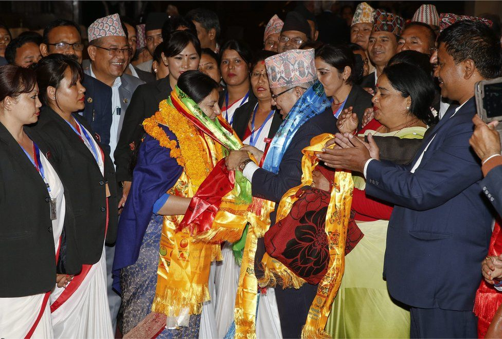 Nepal's first female president Bidhya Bhandari (C-L) is being congratulated by former Prime Minister Madhav Kumar Nepal (C-R), after she is elected as New President of Nepal at the parliament in Kathmandu, Nepal, 28 October 2015.