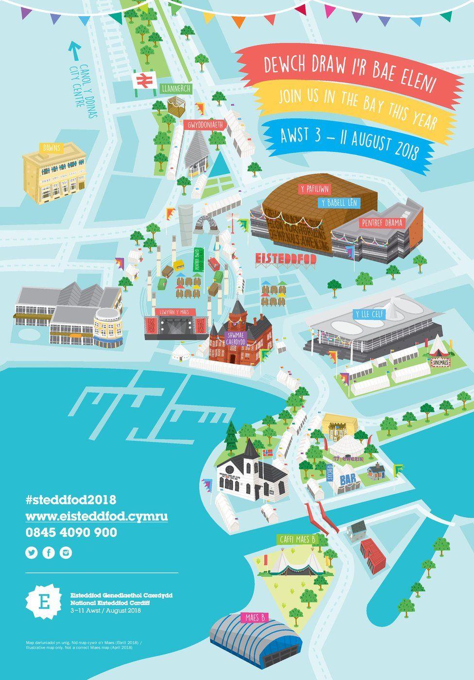 Map newydd y maes ym Mae Caerdydd