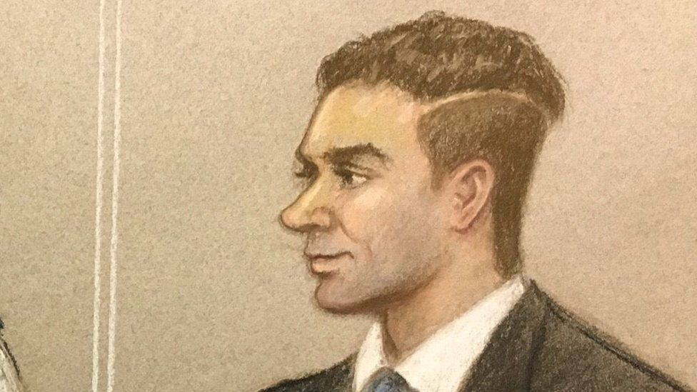 Court sketch of Damon Smith