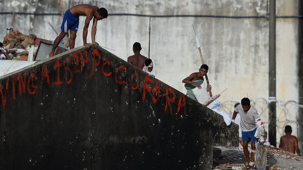 Prisoners during a riot at the Alcacuz Penitentiary Center near Natal in Rio Grande do Norte, Brazil on January 17, 2017.