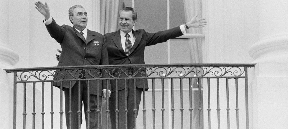 Cold War-era President Leonid Breshnev with President Richard Nixon in June 1973
