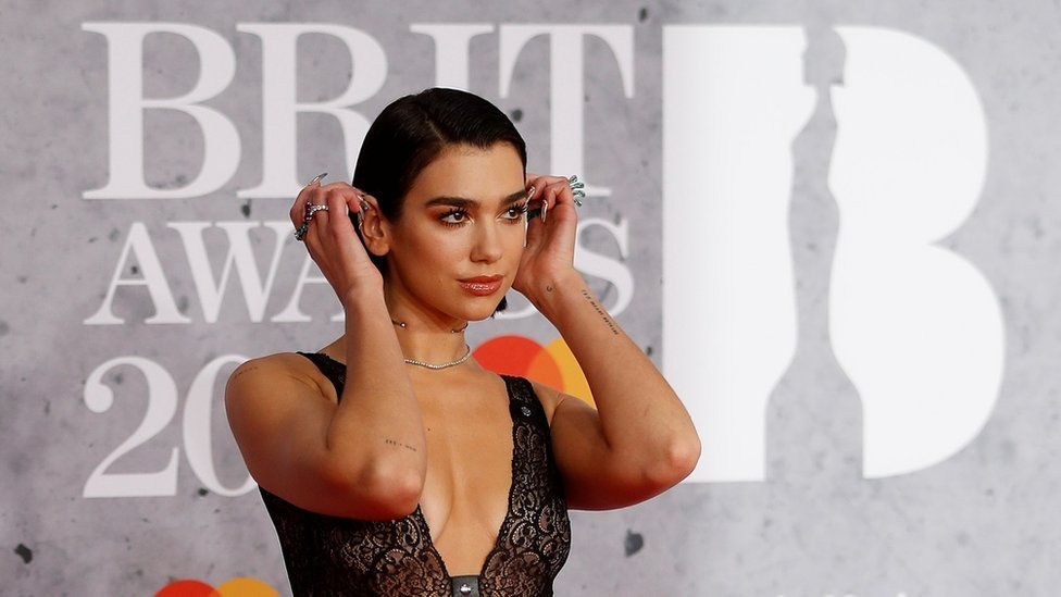 Dua Lipa arrives at London's 02 Arena for the 2019 Brit Awards