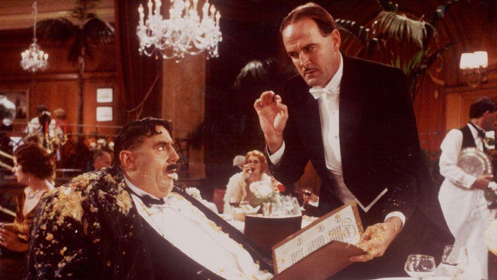 Terry Jones alongside John Cleese as Mr Creosote