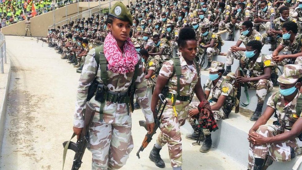 Members of the special forces paraded in major cities of the region including the capital, Mekelle.