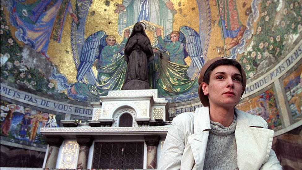 Singer Sinéad O'Connor at Lourdes in France where she was ordained as a priest in the Latin Tridentine Church, 1999