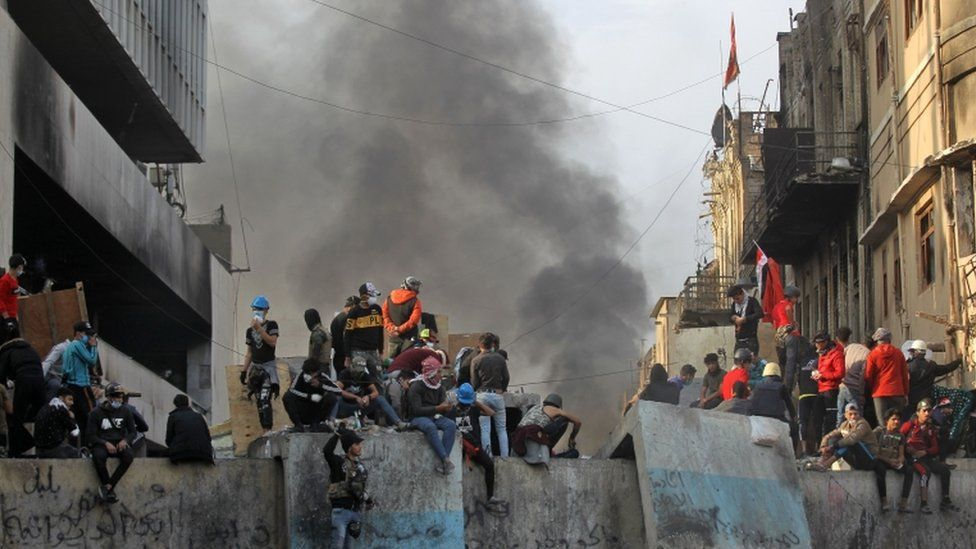 Protesters near Ahrar Bridge in Baghdad