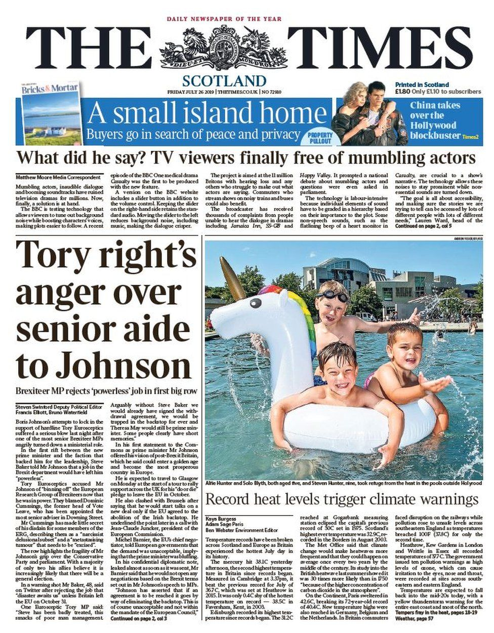Scotland's papers: Alister Jack 'out of touch' as Boris on 'warpath