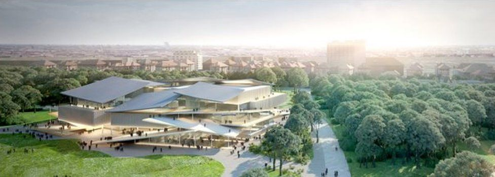Artist's impression of the new National Gallery inside Budapest Central Park