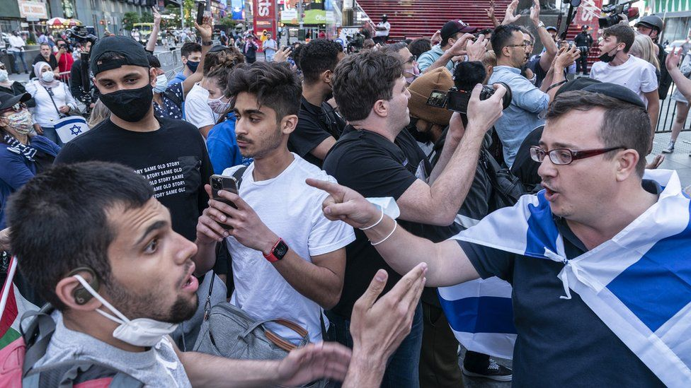 Clashes between pro-Israeli and pro-Palestinian groups erupted in Times Square earlier this month