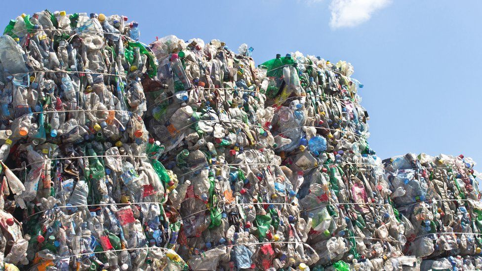 Stacks of plastic bottles for recycling