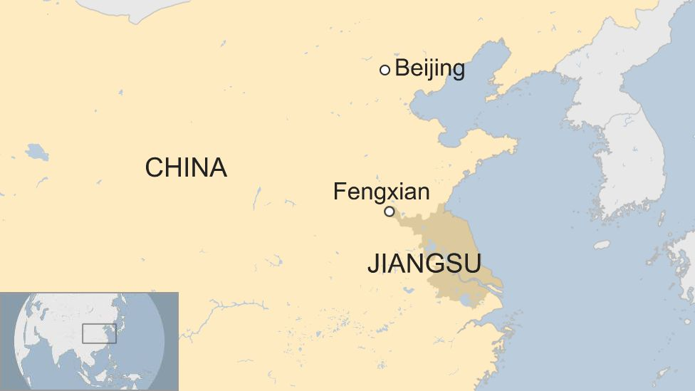 A map of China showing Fengxian in the east