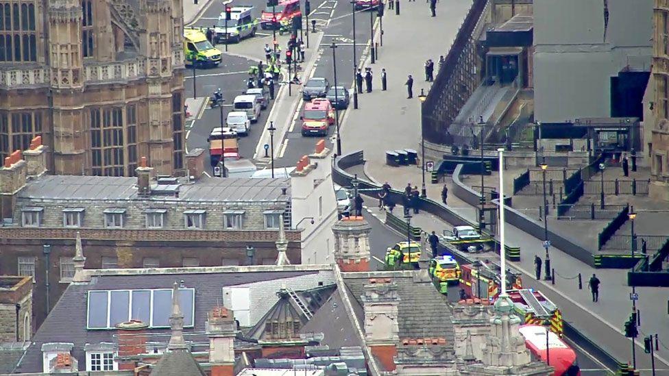 The scene outside Westminster