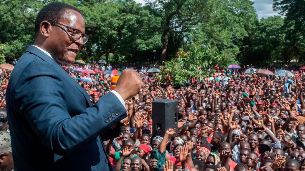 Malawi Congress Party (MCP) President Lazarus Chakwera adresses supporters during celebrations, outside the MCP Headquarters in Lilongwe February 4, 2020