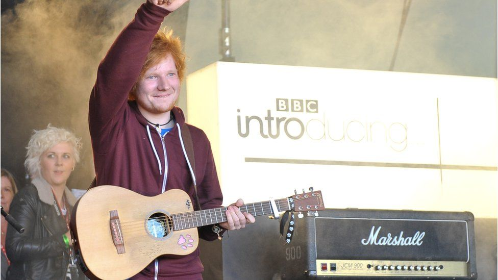 Ed Sheeran performing on the BBC Introducing stage at Reading and Leeds festivals in 2012