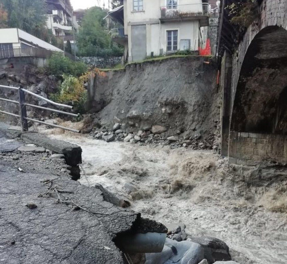 Damaged caused to a road near Cuneo in Italy's Piedmont region