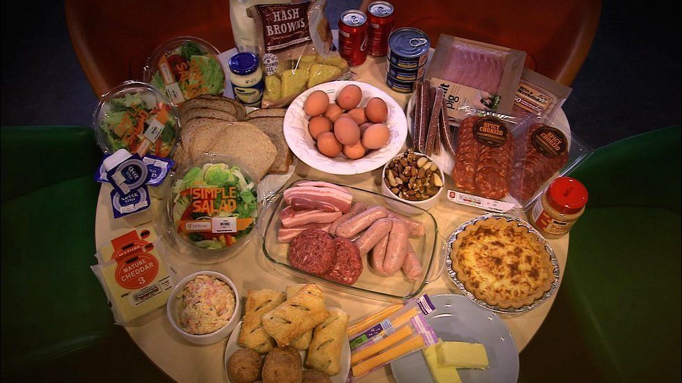 A table of food including sausages, burgers, quiche, eggs, cheese, yoghurt, chorizo, mayonnaise, hash browns and peanut butter